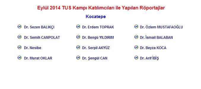 Eylül 2014 TUS Kampı Katılımcıları ile Yapılan Röportajlar